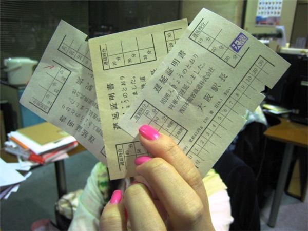 Ví dụ về những tấm vé xác minh cho việc tới trễ.