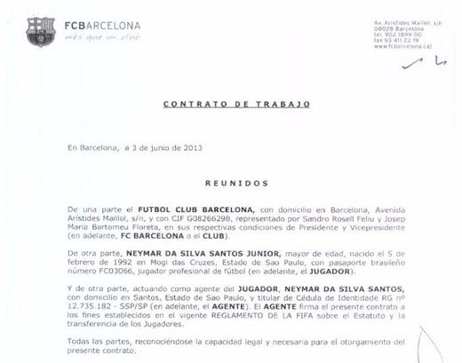 Football Leaks công bố hợp đồng của Barca kívới Neymar.
