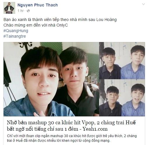 """OnlyC chia sẻ với fan về việc """"chiêu mộ"""" Quang Hùng. - Tin sao Viet - Tin tuc sao Viet - Scandal sao Viet - Tin tuc cua Sao - Tin cua Sao"""