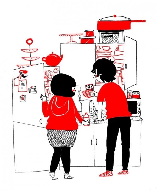 Đôi khi hạnh phúc chỉ đơn giản là cùng chuẩn bị bữa sáng cho nhau, ngửi hương cà phê thơm lừng quyện cùng mùi trứng chiên hấp dẫn. (Ảnh: Philippa Rice)
