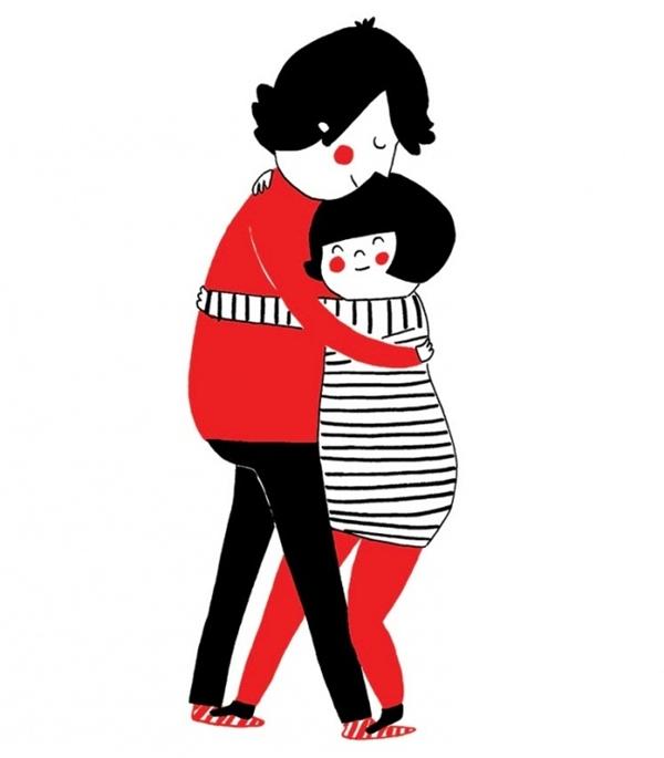 Có những khoảnh khắc cả hai tạm gác tất cả những bộn bề, lo toan trong cuộc sống mà ôm nhau một cái thật chặt, thật lâu. (Ảnh: Philippa Rice)