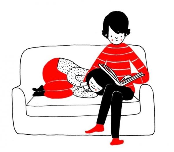 Cả lúc kiệt sức vì học tập và công việc, chỉ cần cuộn mình lại nằm gối đầu lên chân người ấy là như được nạp lại năng lượng ngay. (Ảnh: Philippa Rice)