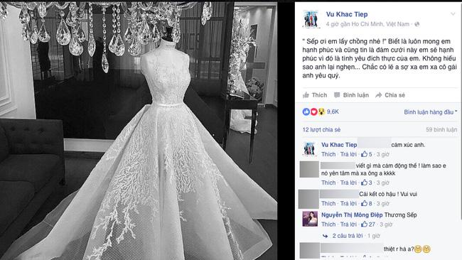 Hình ảnh tấm váy cưới của Khắc Tiệp trên trang cá nhân.
