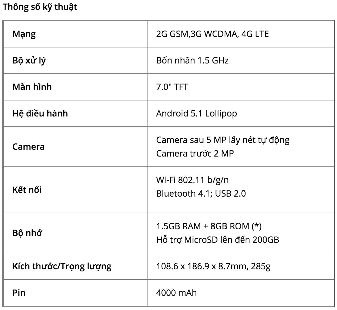 Máy tính bảng Samsung Galaxy Tab A(6) 7inch tại Việt Nam
