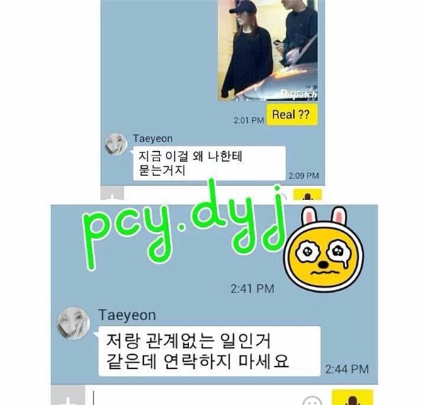 Taeyeon yêu cầu người này dừng liên lạc về những chuyện không liên quan đến cô.