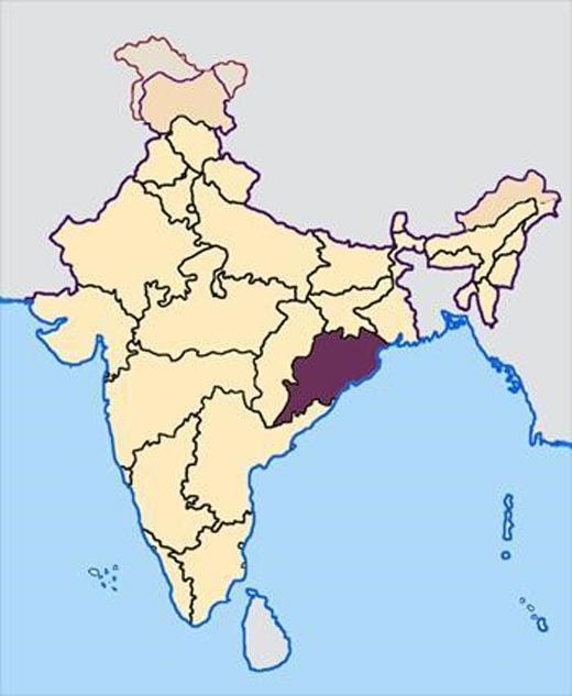 Bang Orissa trải qua đợt nắng nóng khiến 24 người chết. Đồ họa: Map courtesy of Wikimedia