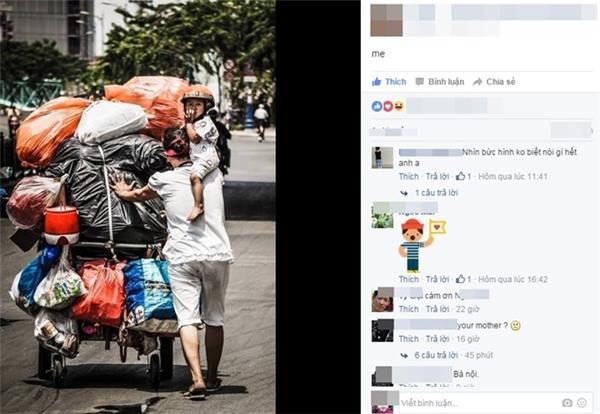 Khoảnh khắc người mẹ vừa đẩy xe đồng nát vừa để con trên vai chia sẻ trên mạng ngày 14/4. Ảnh chụp màn hình.