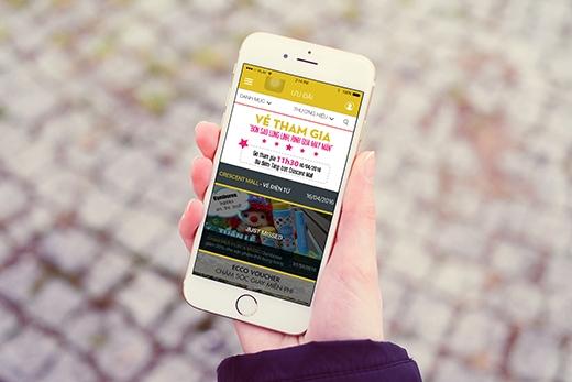 Hình mẫu phiếu điện tử tham gia chương trình trên Ứng dụng di động Crescent Mall.