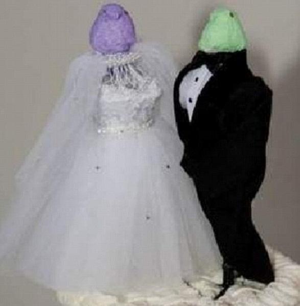 Không biết đầu cô dâu, chú rể bay đâu mất rồi.
