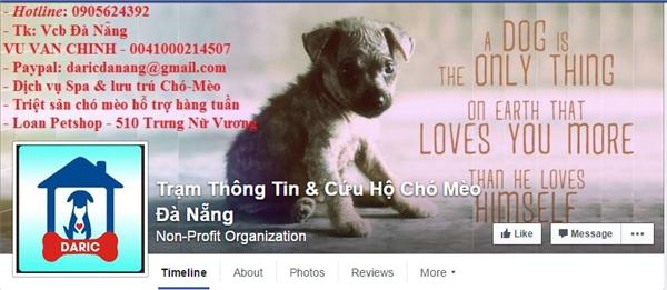 Fanpage của Trạm Thông Tin & Cứu Hộ Chó MèoĐà Nẵng. (Ảnh: Internet)