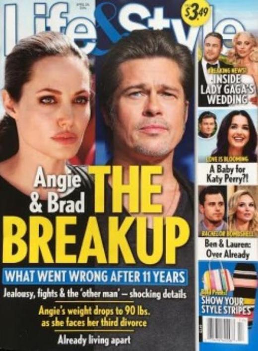 Tạp chí này tiếp tục khẳng định sự đổ vỡ quan hệ của hai vợ chồng này bằng những cụm từ cực kì nghiêm trọng ngay trên trang bìa. (Ảnh: Internet)