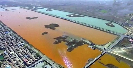 Mảng sông lớn bao phủ hoàn toàn bởi màu đỏ
