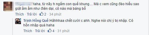Trong một bình luận với bạn bè, Hồng Quế cũng tiếp nối câu chuyện bằng những lời bông đùa. - Tin sao Viet - Tin tuc sao Viet - Scandal sao Viet - Tin tuc cua Sao - Tin cua Sao