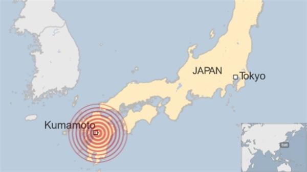 Vị trí khu vực hứng chịu động đất trên bản đồ Nhật Bản. Đồ họa: BBC.