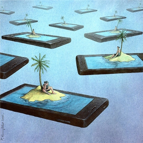 Công nghệ, điện thoại hay internet giúp ta kết nối với thế giới bên ngoài nhanh nhất nhưng đồng thời cũng cô lập chính chúng ta. Thật ra, bạn cũng chỉ như Robinson mãi mê gọi điện thoại trên hoang đảo.(Ảnh: Internet)