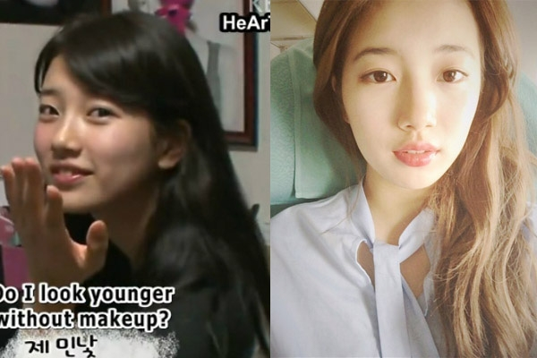 Ngắm nhìn cả hai bức ảnh, làn da của Suzyvẫn khiến người hâm mộ xuýt xoa với sự hoàn hảo, mịn màng và tươi tăn của mình. Cô nàng còn được bình chọn là mỹ nhân có lỗ chân lông nhỏ nhất showbiz Hàn.