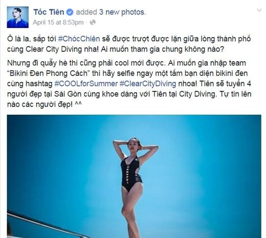 Cô nàng xinh đẹp và sexy Tóc Tiên đang vô cùng thích thú với lễ hội Clear City Diving. (Ảnh: Internet)
