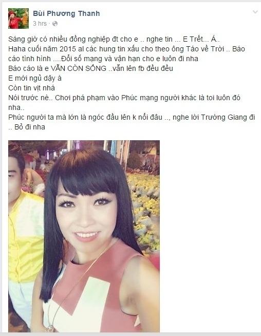 Ngoài ra, nữ ca sĩ Phương Thanh cũng từng một phen gặp rắc rối với thông tin cho biết cô đã qua đời vì tai nạn giao thông khi đi lưu diễn... - Tin sao Viet - Tin tuc sao Viet - Scandal sao Viet - Tin tuc cua Sao - Tin cua Sao