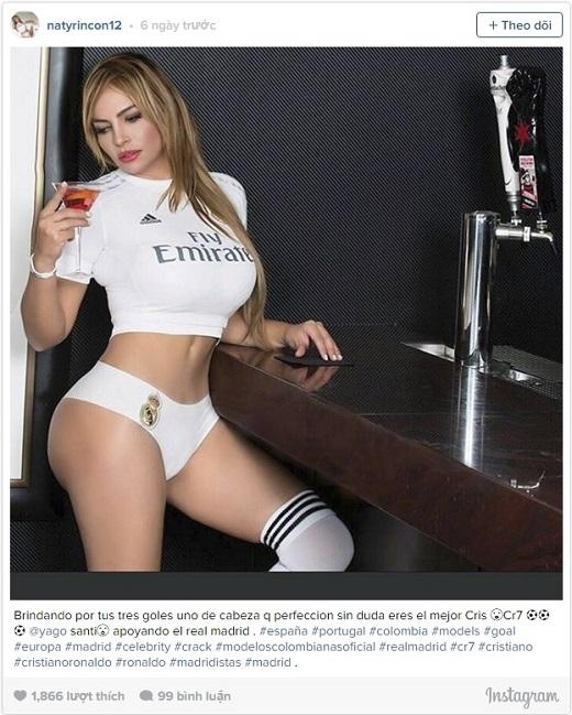 Nataly Rincon muốn gì khi đào xới lại cái tên Ronaldo trên Instagram của mình?(Ảnh: Internet)