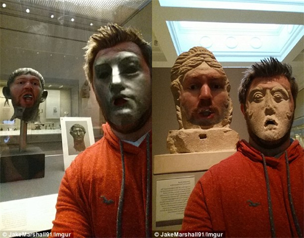 """Không chỉ tráo mặt với các tượng vĩ nhân mà Jake còn thể hiện những biểu cảm """"khó đỡ"""" nhưng cũng rất buồn cười. (Ảnh: Jake Marshall)"""