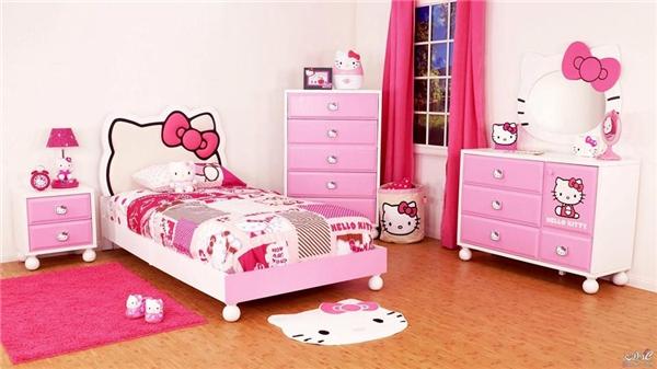Một bé gái chắc chắn sẽ thích thú đến hét lên khi được thấy căn phòng Hello Kitty này. (Ảnh: Internet)