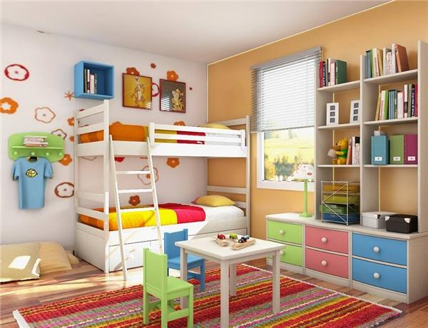 Những màu sắc pastel dịu dàng của tủ và ghế làm nổi bật thêm màu ga giường sặc sỡ. (Ảnh: Internet)
