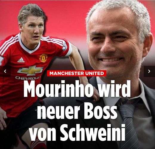 Trang Bild, tờ thể thao uy tín của Đức đưa tin, Jose Mourinho trở thành huấn luyện viên mới của Schweinsteiger.