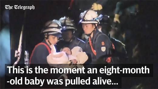 Hồi hộp xem quá trình giải cứu bé sơ sinh sau trận động đất Nhật Bản