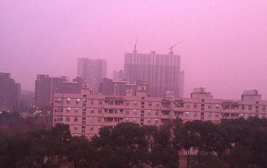 Hiện tượng sương mù màu hồng tím tại Nam Kinh. (Ảnh: Internet)