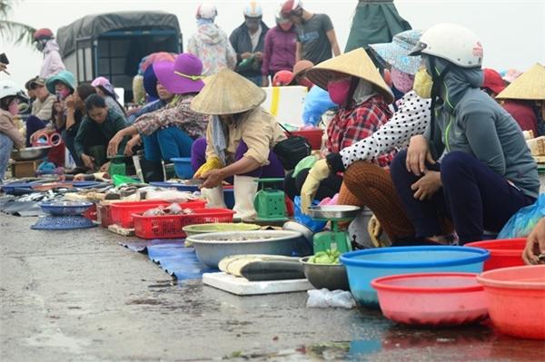 """Bà Trương Thị Thanh (56 tuổi, trú phường Đồng Phú, TP Đồng Hới) cho biết, thường ngày bà bán được khoảng hơn 50 kg cá nhỏ các loại. """"Cả tuần nay tôi lỗ vốn vì lấy cá về không bán được. Hôm nay không bán được, sáng mai sẽ lại mất công chở ra bán cho các đầu mối thu mua cá cho lợn ăn"""", bà Thanh nói."""