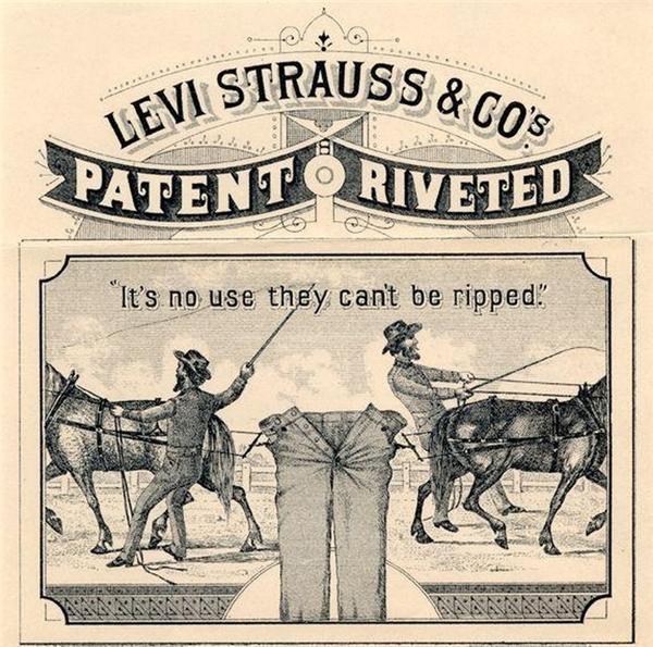 Quảng cáo của quần bò Levi's cuối thế kỷ 19, đầu thế kỷ 20