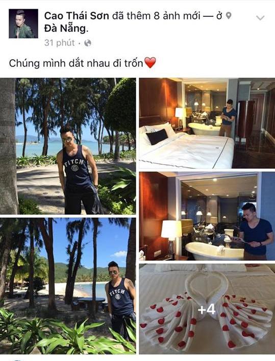 """Tin đồn một lần nữa lại lan truyềnmạnh mẽ khi mới đây, anh đã đăng tải loạt ảnh nghỉ dưỡng tại một khu resort xa hoa ở Đà Nẵng với dòng trạng thái: """"Chúng mình dắt nhau đi trốn"""".  - Tin sao Viet - Tin tuc sao Viet - Scandal sao Viet - Tin tuc cua Sao - Tin cua Sao"""