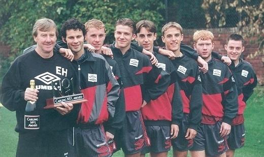 Sir Alex và thế hệ vàng năm 1992 của Manchester United. Ảnh: Internet.