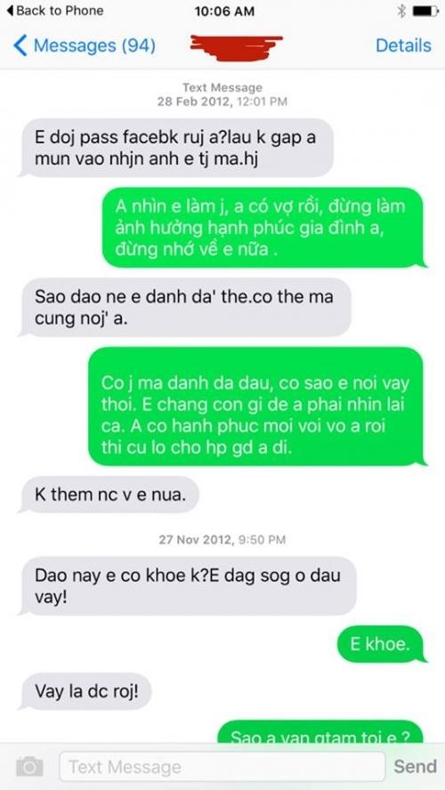 Câu trả lời không ngờ của vợ trẻ khi nhận tin nhắn 'lạ' từ tình cũ