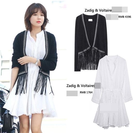 Với set đồ khá đơn giản này, Sooyoung cũng đã tiêu tốn gần 50 triệu đồng cho các thương hiệu: James Jeans, Alexander Wang, Isabel Marant Etoile.