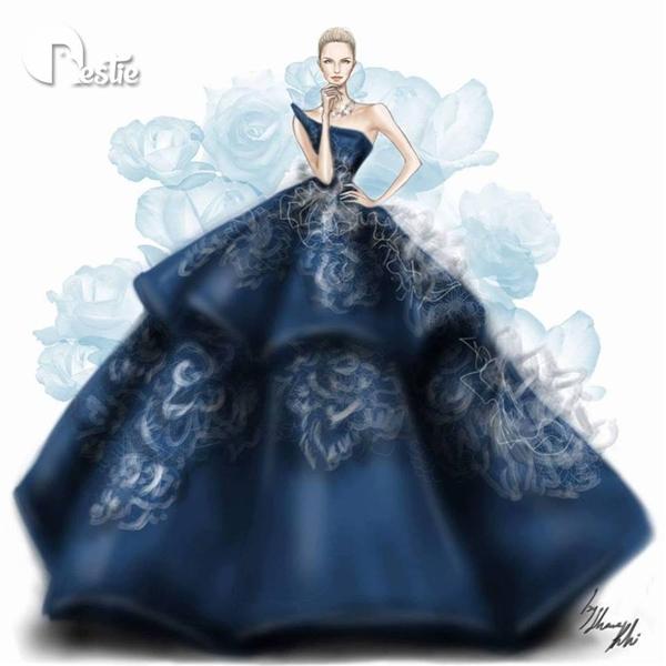 Thiết kế này gây ấn tượng với cấu trúc phồng xòe, phân tầng độc đáo. Dù lấy tông màu xanh đen trầm mặc làm chủ đạo nhưng bộ váy vẫn nổi bật nhờ sự tương phản giữa họa tiết với nền vải.