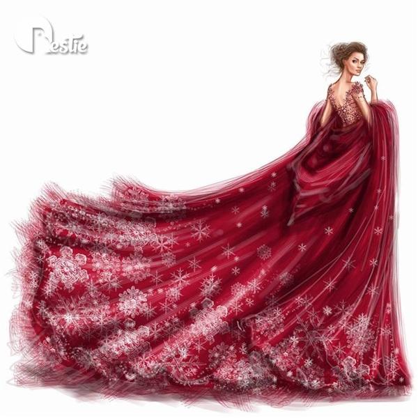 Chắc chắn thiết kế này sẽ làm hài lòng tất cả phái đẹp bởi sự lộng lẫy, kiêu sa của sắc đỏ kết hợp chất liệu mềm mại, quyến rũ. Họa tiết ở phần đuôi váy làm gợi nhớ đến những vùng đất châu Âu huyền diệu với hoa tuyết rơi vào mùa đông lạnh giá.