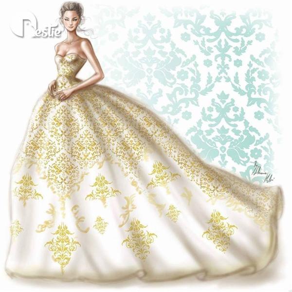 Sắc vàng hoàng gia kết hợp họa tiết tỉ mỉ chắc chắn sẽ biến các cô gái trở thành những nàng công chúa xinh đẹp, lộng lẫy nhất trong ngày trọng đại của cuộc đời.