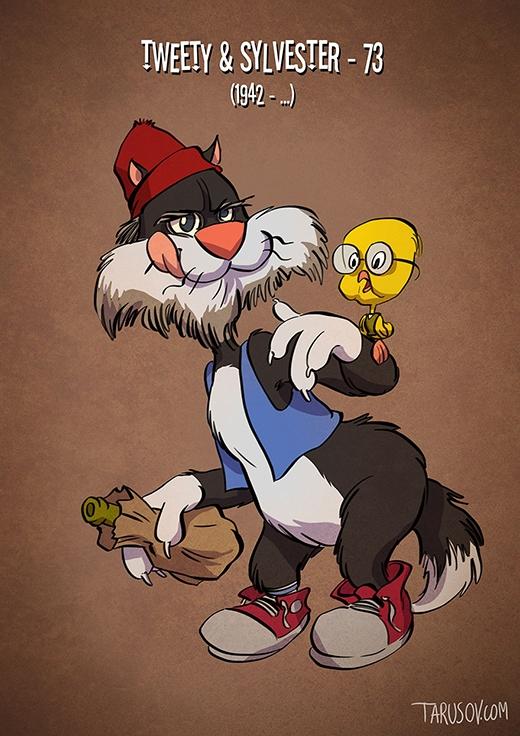 Đôi bạn Tweety và Sylvester giờ mỗi người một địa vị khác nhau. Tweety trở thành học giả, còn Sylvester phải chịu cảnh thất nghiệp.(Ảnh: tarusov.com)