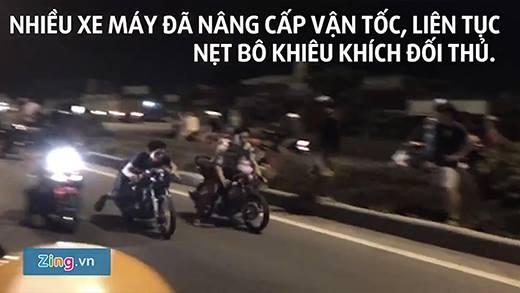 Hoảng hồn với hàng trăm quái xế đua xe trong đêm ngay quốc lộ