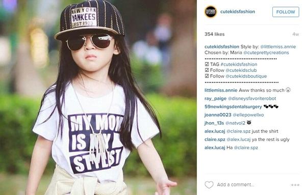 Hình ảnh của Thiên Ân xuất hiện trên tài khoản instagram của một hãng thời trang trẻ em nước ngoài