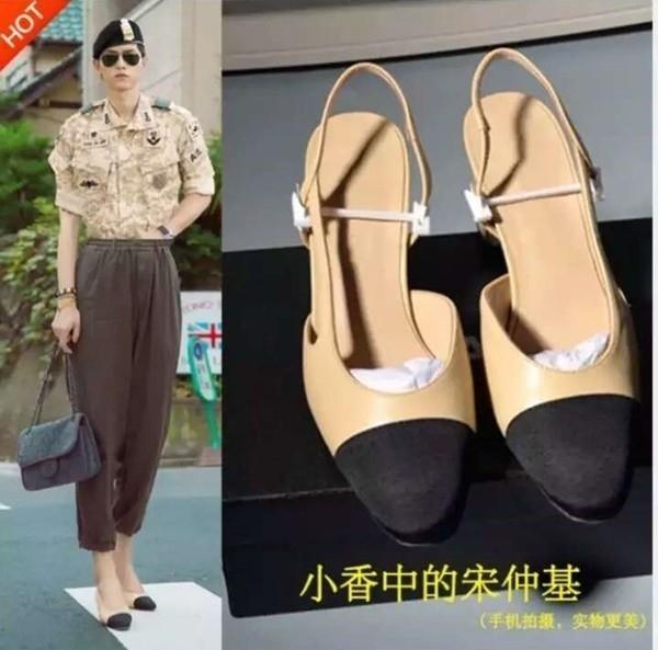 Song Joong Ki bị ghép ảnh đi giày cao gót, mặc đồ nữ với mục đích bán giày. Ảnh: HKChannel.