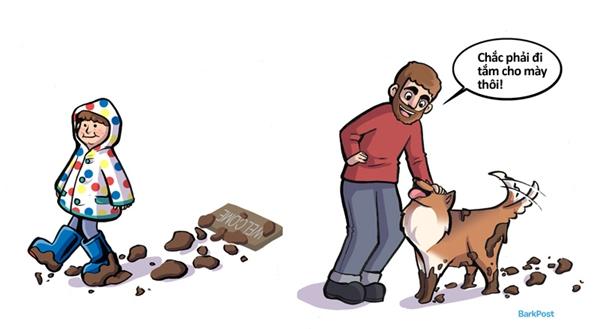 Tha đất cát vào khắp nơi trong nhà, có dặn bao nhiêu lần cũng không chịu rửa chân.