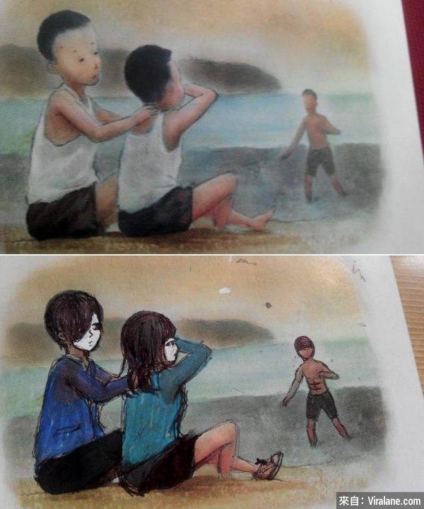 Bạn học sinh đã rất kỳ công vẽ đôi nam nữ ngồi trên bờ, nhưng hãy quên họ đi, vì 6 múi đang tiến lên kìa. (Ảnh: Internet)