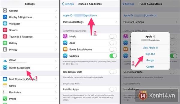 Cách đăng xuất Apple ID.