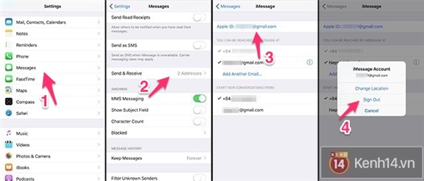 Cách đăng xuất iMessage.