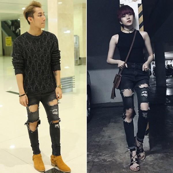 Hãy để ý vào chiếc quần jean skinny ôm sát với những đường rách khá giống nhau! - Tin sao Viet - Tin tuc sao Viet - Scandal sao Viet - Tin tuc cua Sao - Tin cua Sao