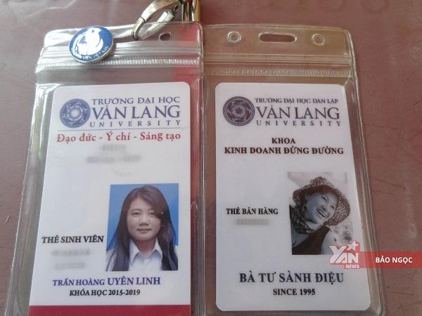 Thẻ bán hàngcủacô Tư giống hệt kiểu dángvới thẻ sinh viên thông thường của trường Văn Lang.