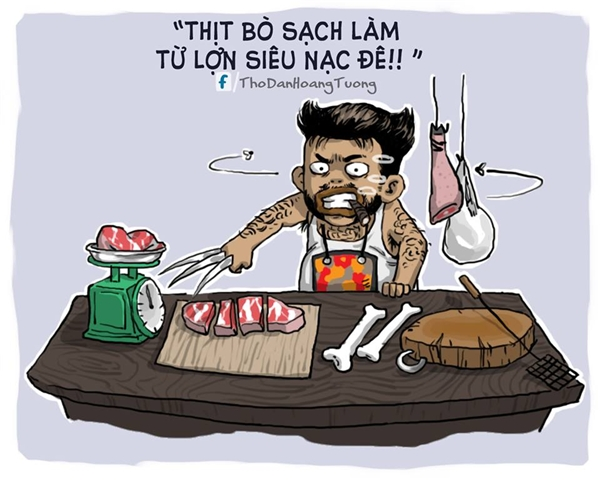 """Không hàng thịt nào bán đắt qua hàng của """"Sói ca"""". Chặt thịt vừa nhanh, vừa điêu luyện mà lại còn đẹp trai """"cool ngầu"""".(Ảnh: Nhà Thổ)"""