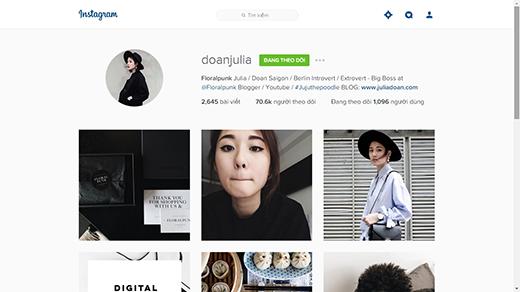 Instagram của Julia Đoàn luôn thu hút được sự quan tâm của giới trẻ, đặc biệt tín đồ thời trang. (Ảnh: Internet)